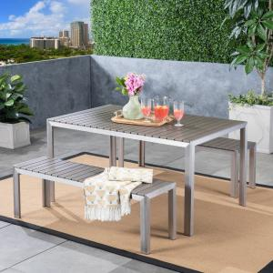 Gannon Outdoor Aluminum Picnic Set with Faux Wood Top, Silver, Natural