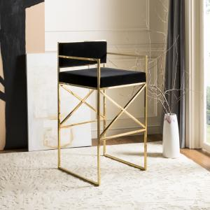 Safavieh Couture Kian Glam Velvet Directors Stool with Footrest