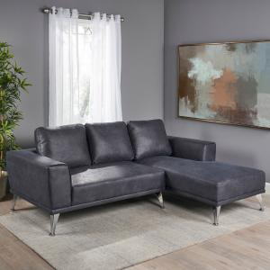 Noble House Amira Modern Microfiber Chaise Sectional, Navy Blue