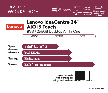Lenovo IdeaCentre 24 AIO i3 Touch 8GB/256GB Desktop All-In-One