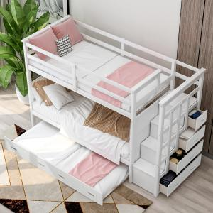 EUROCO Twin over Twin Bunk Bed with Trundle Storage Drawers, White