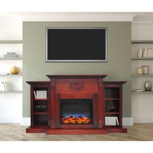 Cambridge Sanoma Electric Fireplace Heater with 72″ Bookshelf Mantel and Multi-Color LED Flame Display