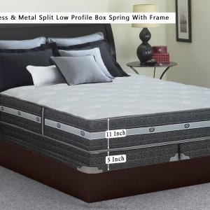 Continental Sleep, 11-inch Fully Assembled Innerspring Mattress and 4″ Split Semi Flex Box Spring with Frame, Queen Size