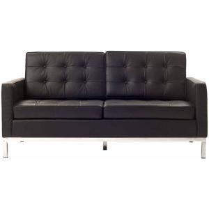 Modway Loft Leather Loveseat with Steel Legs, Multiple Colors