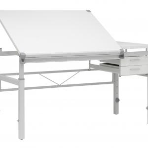 SD Alpha Split Top, Height Adjustable Drafting Table with 39.5″ x 30″ Tilting Top and Drawers in White