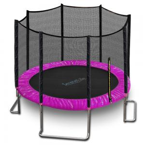 SereneLife SLTRA10PNK – Home Backyard Sports Trampoline – Large Outdoor Jumping Fun Trampoline for Kids / Children, Safety Net Cage (10? ft.)