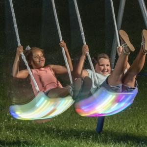 XDP Recreation FIREFLY Metal Swing Set with LED Swing Seats and Galvanized Steel Frame