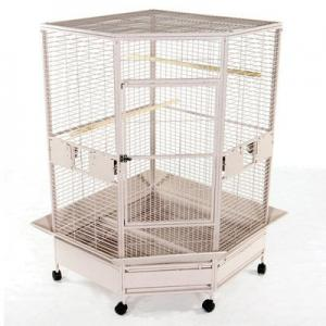 A and E Cage Co. Extra-Large Corner Cage – Black