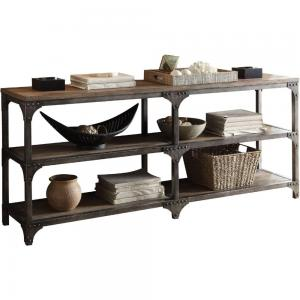 Console Table Weathered Oak & Antique Silver