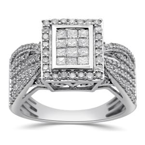 1 Carat T.W. Princess and Round Diamond 10kt White Gold Engagement Ring
