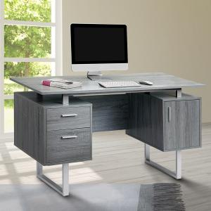 Techni Mobili Modern Office Desk with Storage, Grey