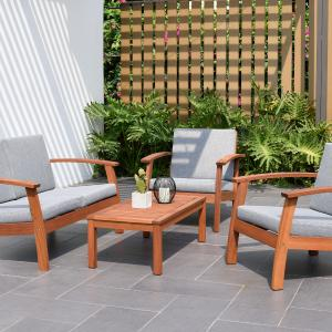 Amazonia Cahais Wood 4 Pieces Patio Conversation Set with Comfortable Gray Cushions
