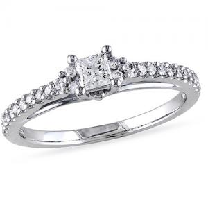 Miabella 1/2 Carat T.W. Princess- and Round-Cut 14kt White Gold Engagement Ring