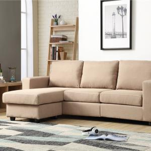 Nathaniel Home Alexandra Small Space Convertible Sectional, Beige