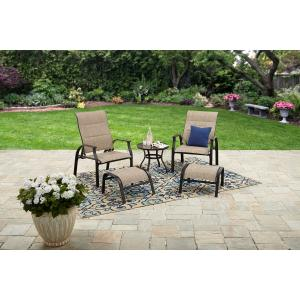Mainstays Highland Knolls 5 piece Outdoor Patio Furniture Chat Set, Beige