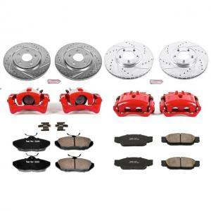 Power Stop Front and Rear Z23 Evolution Brake Pad and Rotor Kit with Red Powder Coated Calipers KC1352