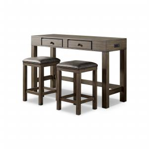 Furniture of America Kipp 3-Piece Counter Height Dining Set, Walnut and Gray