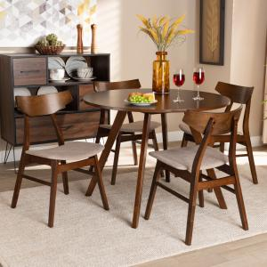 Baxton Studio Timothy Mid-Century Modern Transitional Light Beige Fabric Upholstered and Walnut Brown Finished Wood 5-Piece Dining Set