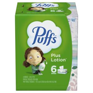 Puffs Plus Lotion Facial Tissue, 6 Family Boxes, 744 Total Tissues