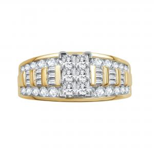 1 1/2 CTTW Diamond Cluster 10K Yellow Gold Engagement Ring. (I-J/I2-I3)