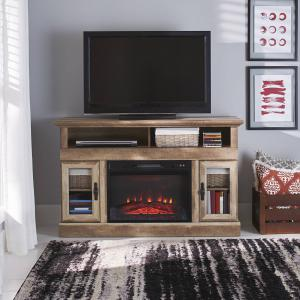 Better Homes & Gardens Crossmill Fireplace Media Console for TVs up to 60″, Weathered Finish