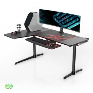 Eureka Ergonomic 60 inch L Shaped Large Gaming Computer Desk, Multi-Functional Study Writing Corner Desk for PC Laptop, Gaming Home Office Work Station, Black