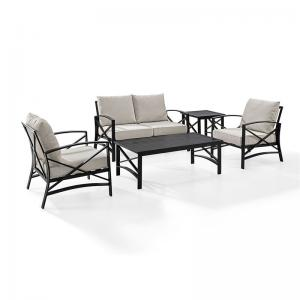 Crosley Furniture Kaplan 5 Pc Outdoor Seating Set With Oatmeal Cushion – Loveseat, Two Chairs, Coffee Table, Side Table
