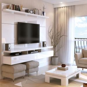 Manhattan Comfort City 1.8 Floating Wall Theater Entertainment Center in White Gloss