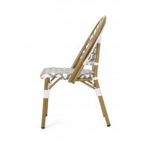 Brandon Outdoor French Bistro Chair, Set of 4, Gray, White, Bamboo Finish