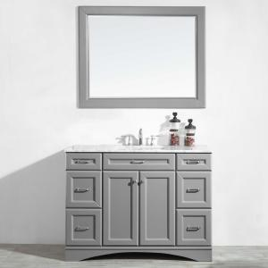 Naples 48″ Vanity in Grey with Carrara White Marble Countertop with Mirror