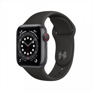 Apple Watch Series 6 GPS + Cellular, 40mm Space Gray Aluminum Case with Black Sport Band – Regular