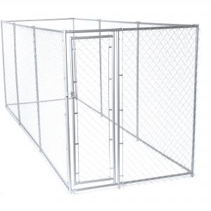 Lucky Dog Single-Door Chain Link Heavy Duty Outdoor Dog Kennel, Silver, 15'L x 5'W x 6'H