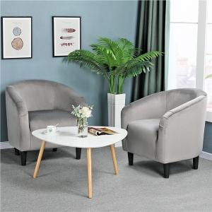 Set of 2 Velvet Barrel Accent Chair Tub Chairs for Living Room/Bedroom/Guest Room/Cafés/Hotel