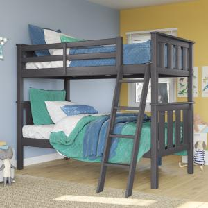 Better Homes & Gardens Kane Twin Over Twin Bunk Bed, Gray Finish