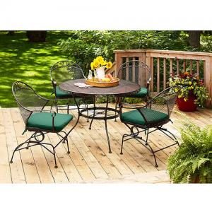 Better Homes and Gardens Clayton Court Patio Dining Set, Wrought Iron Cushioned 5 Piece, Green