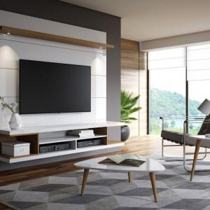 Manhattan Comfort Utopia 70″ Floating Theater Entertainment Center with Led Lights in White and Maple Cream