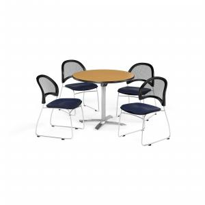 OFM Multi-Use Break Room Package, 42″ Round Flip-Top Table with Moon Stack Chairs, Oak Finish with Khaki Seats (PKG-BRK-171)