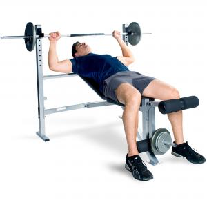 CAP Strength Deluxe Weight Bench with Leg Attachment, Black & Gray