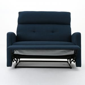 Noble House Hildegard Fabric 2 Seater Recliner,Navy Blue