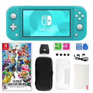 Nintendo Switch Lite in Turquoise with Super Smash Bros. and Accessories 11 in 1 Accessories Kit