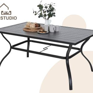 Alpha Home Outdoor Dining Slat Table Black Rectangle Patio Bistro Table Sturdy Steel Frame Home Metal Table Stand Deck Outdoor Furniture Garden Table, Black