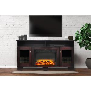 Cambridge Savona Electric Fireplace Heater with 59″ Entertainment Stand plus Enhanced Log and Grate Display