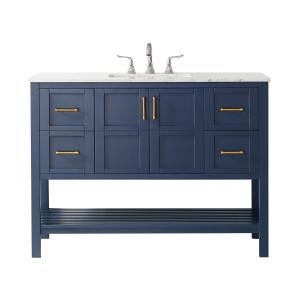 Vinnova Florence 48″ Vanity in RoyalBlue with Carrara White Marble Countertop Without Mirror