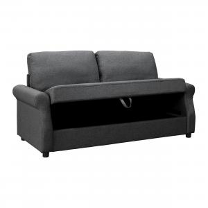 Abbyson Sutton Fabric Storage Sofa, Charcoal Gray