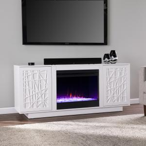 Delvaugni Color Changing Fireplace w/ Media Storage