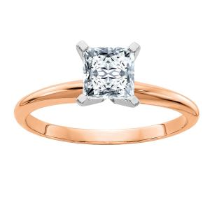 Radiant Fire 14 Karat Rose Gold 1.0 ct. 5.5mm Princess Moissanite Solitaire Ring