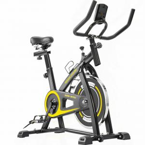 Indoor Cycling Bike Trainer with Comfortable Seat Cushion, Belt Drive System and LCD Monitor for Home Workout