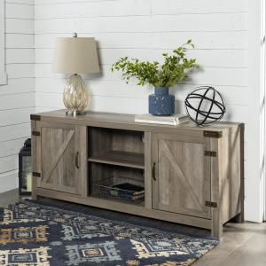 Manor Park Farmhouse Barn Door TV Stand for TVs up to 65″, Grey Wash