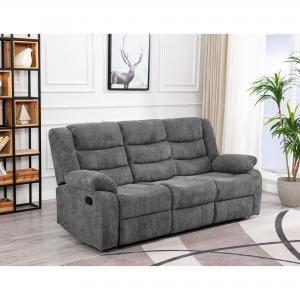 Anji Reclining Sofa with Plush Cushioned Upholstery and Fold-Down Table with Cup Holders, Gray