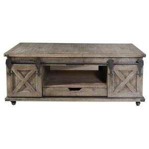Presley Four Door with Drawer Coffee Table – Driftwood Grey